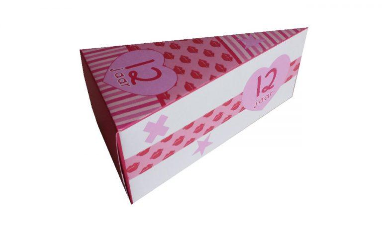 Taartpunt roze lipjes