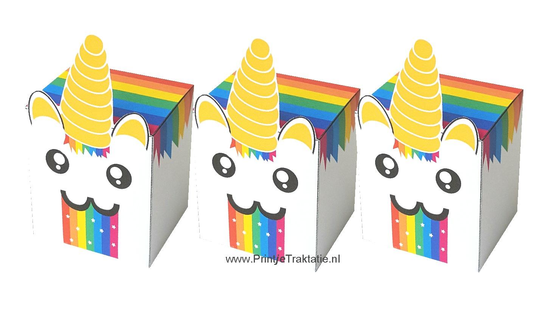 Rainbow unicorn puke traktatie doosje