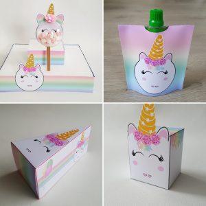 unicorn prikkers doosjes unicorn taartpunten en knijpfruit wikkel traktatie trakteren
